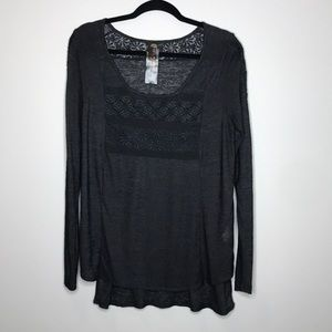 Free People New Romantics lace semi sheer top sz S